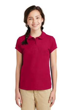 Embroidered Polo Girls Red